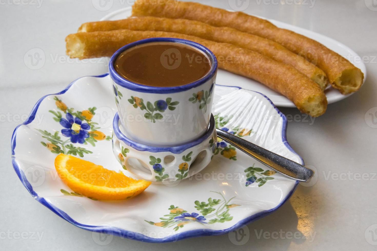 Hot chocolate with porras photo
