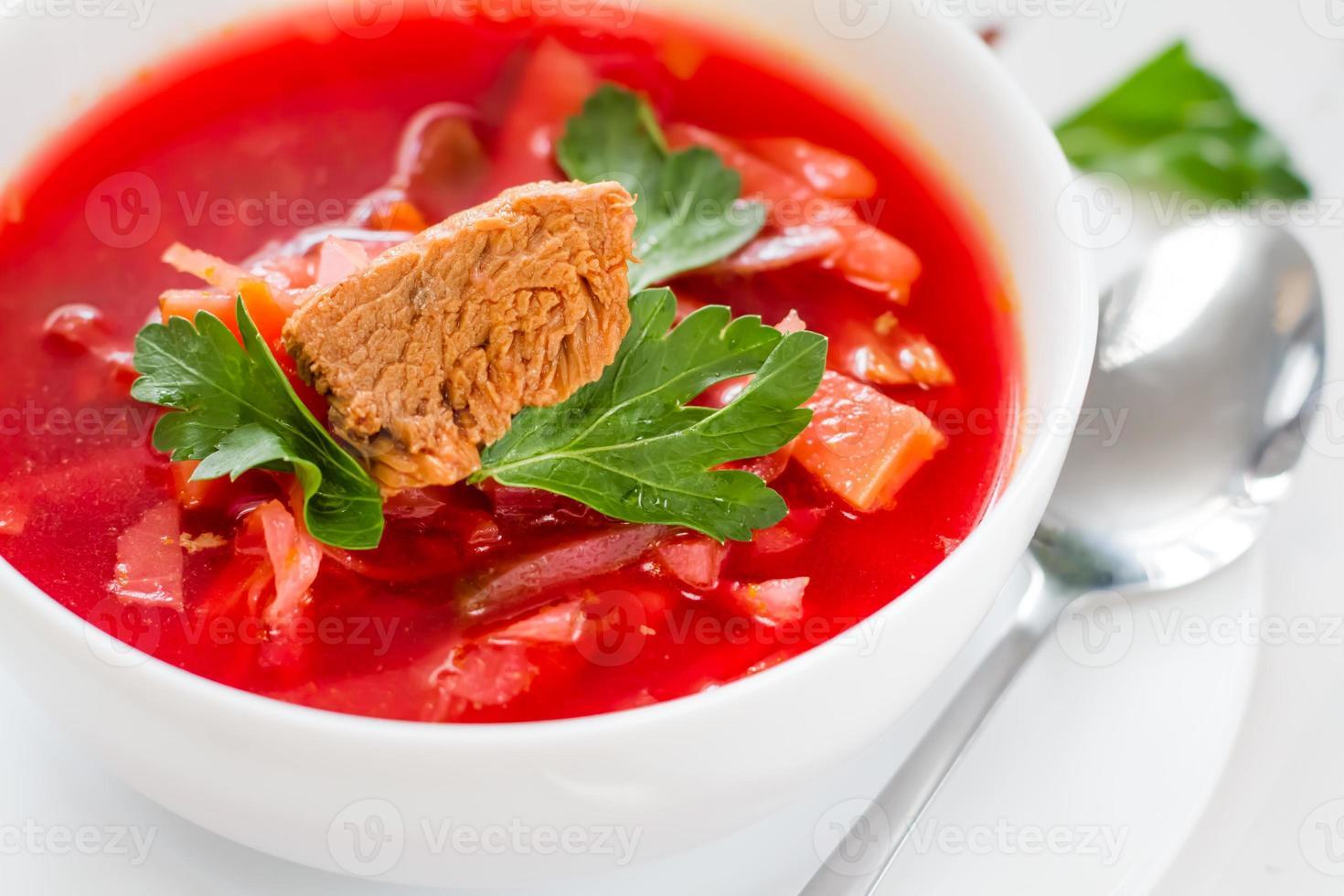 Ukrainian borsch with parsley photo