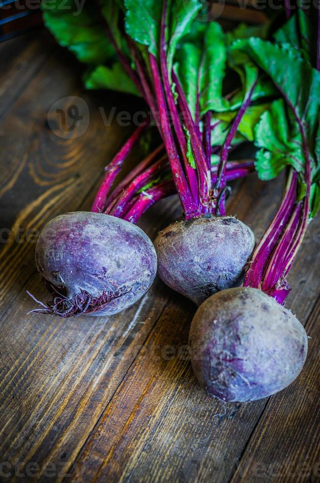 Beetroot on wooden background photo