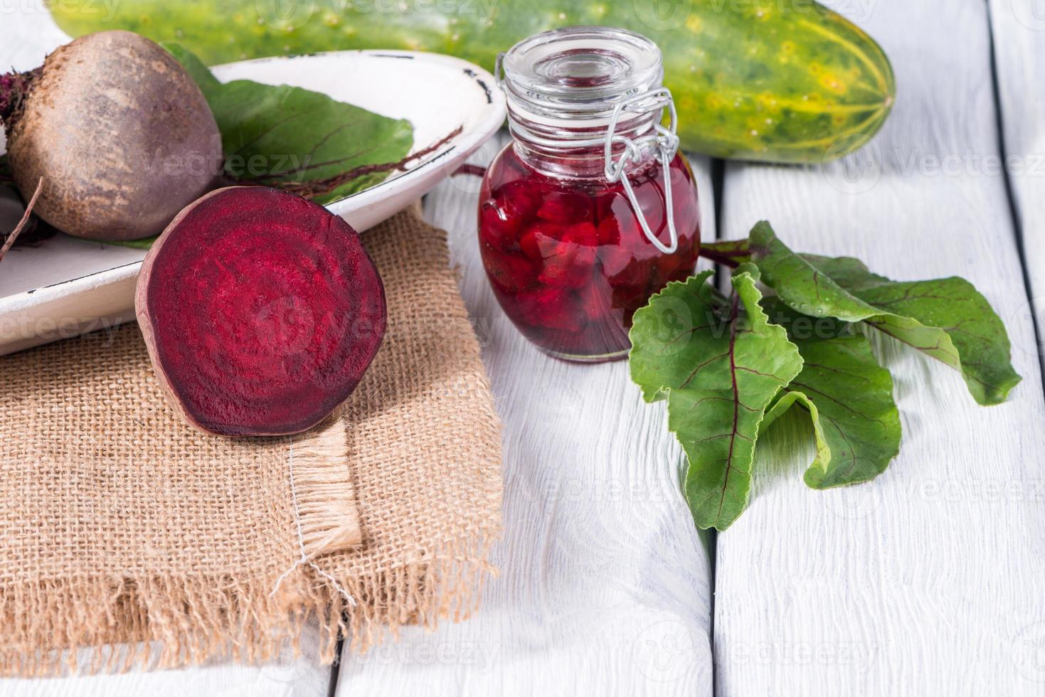 Beetroots rustic wooden table photo
