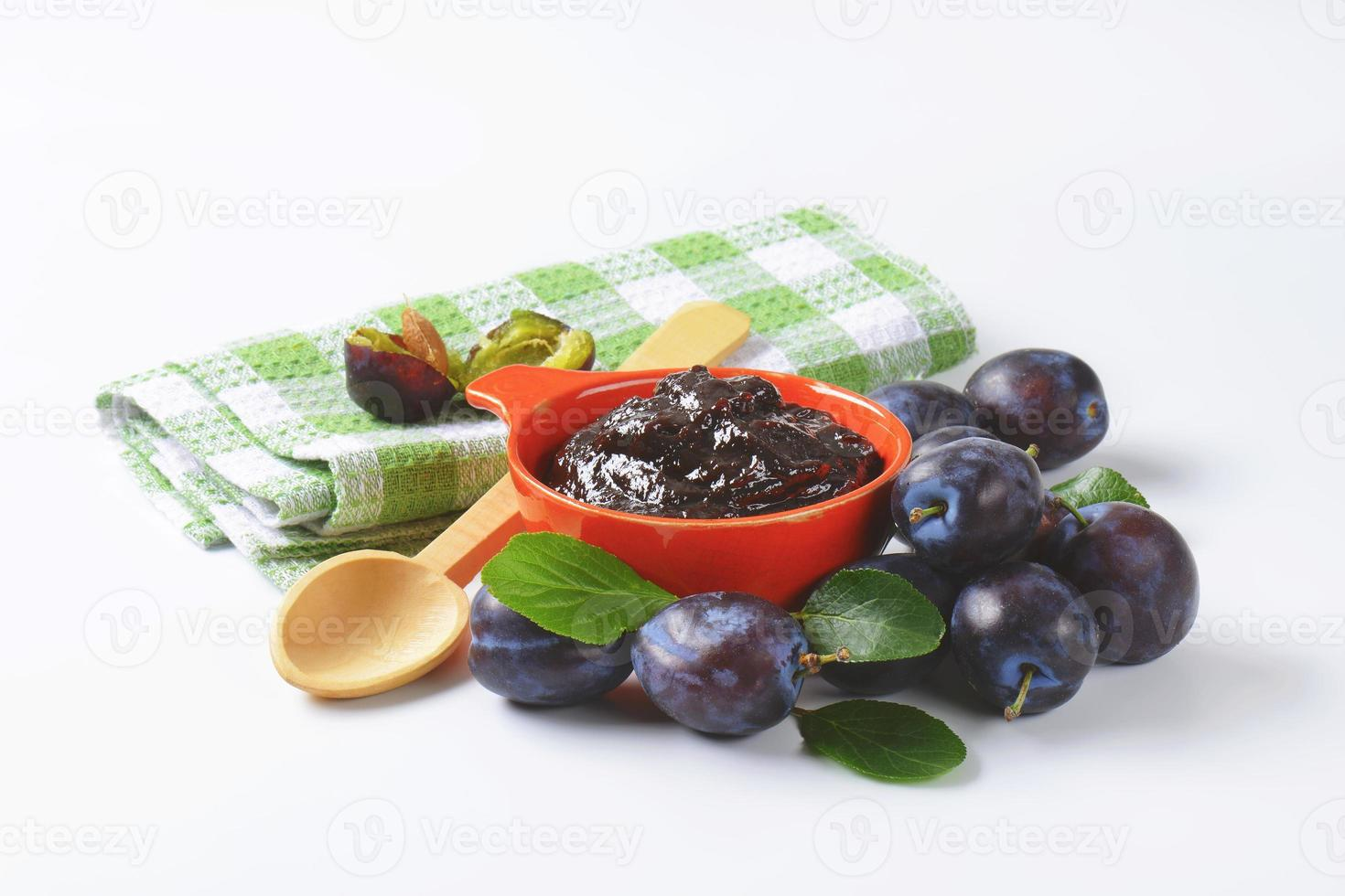 Bowl of plum jam photo