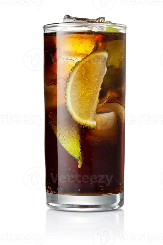Cola with ice and lime photo