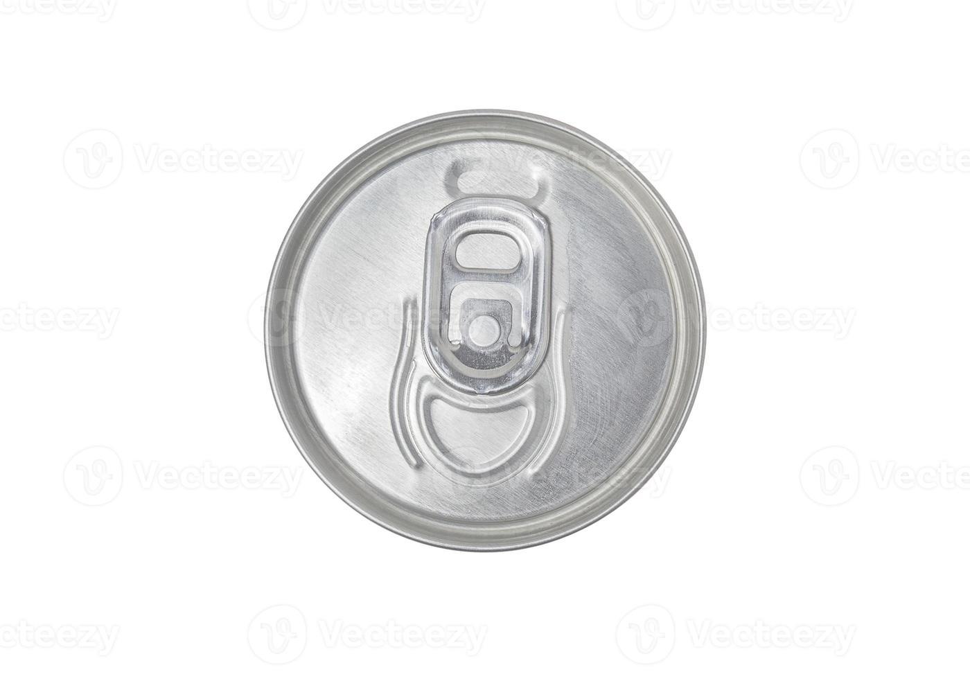 Vista superior de la lata, trazado de recorte, aislado foto