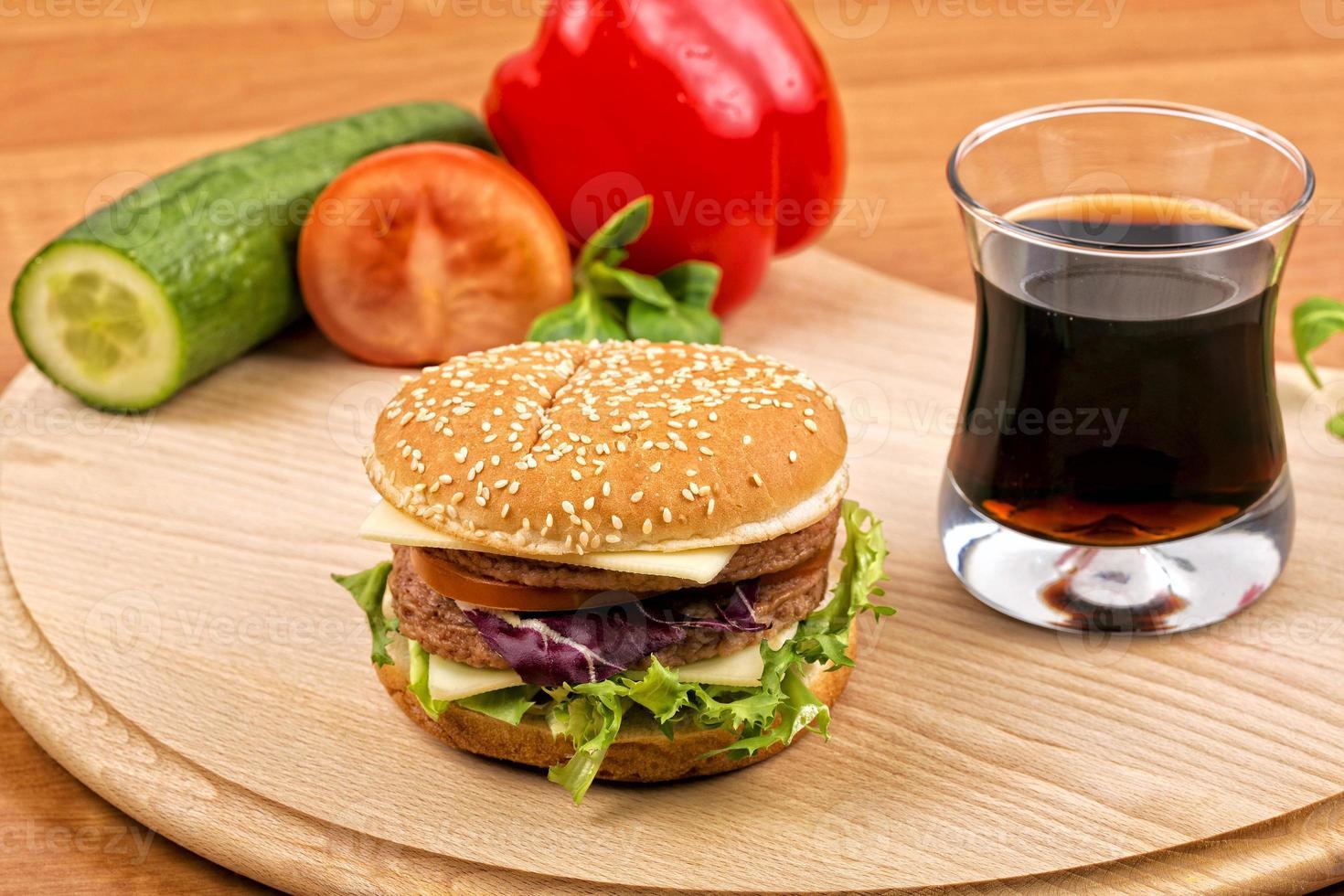 Hamburger with drink photo