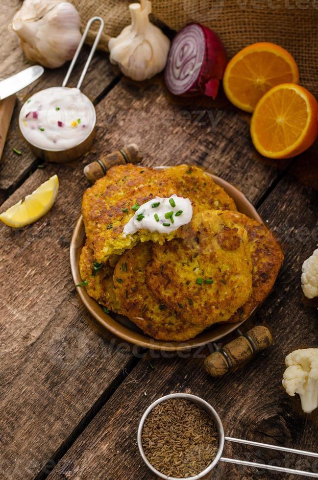 Cauliflower curry pancakes photo