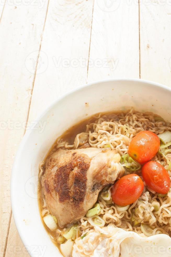 Instant noodles Grilled Chicken boiled egg onion photo