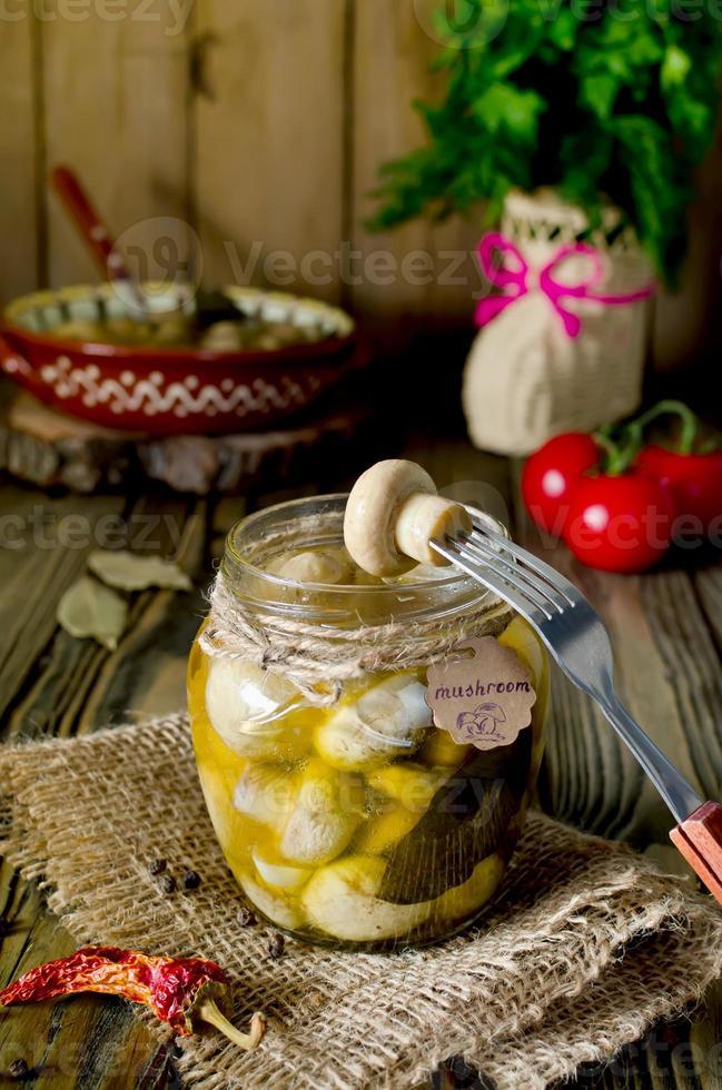 Pickled mushrooms photo