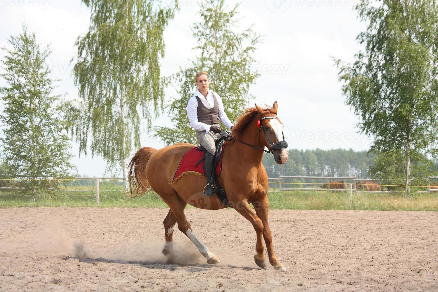 hermosa joven rubia montando caballo castaño foto