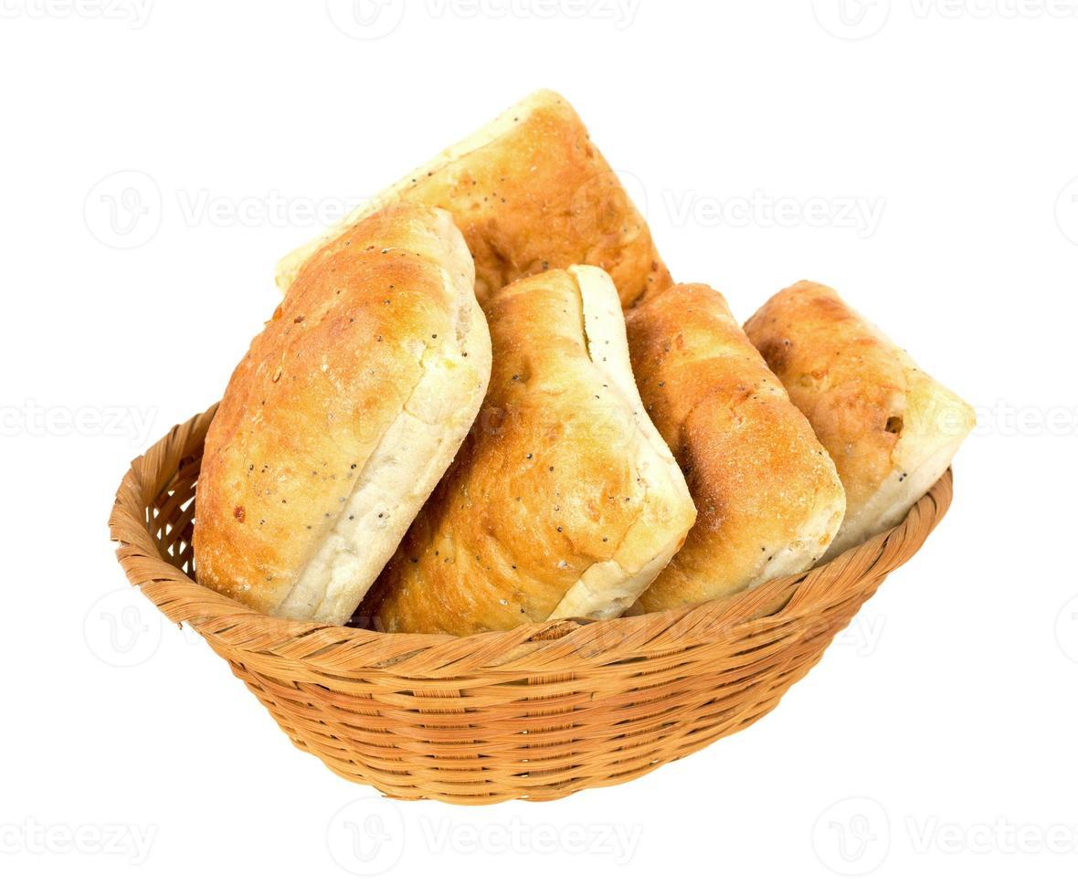 Ciabatta sandwich rolls in a wicker basket photo