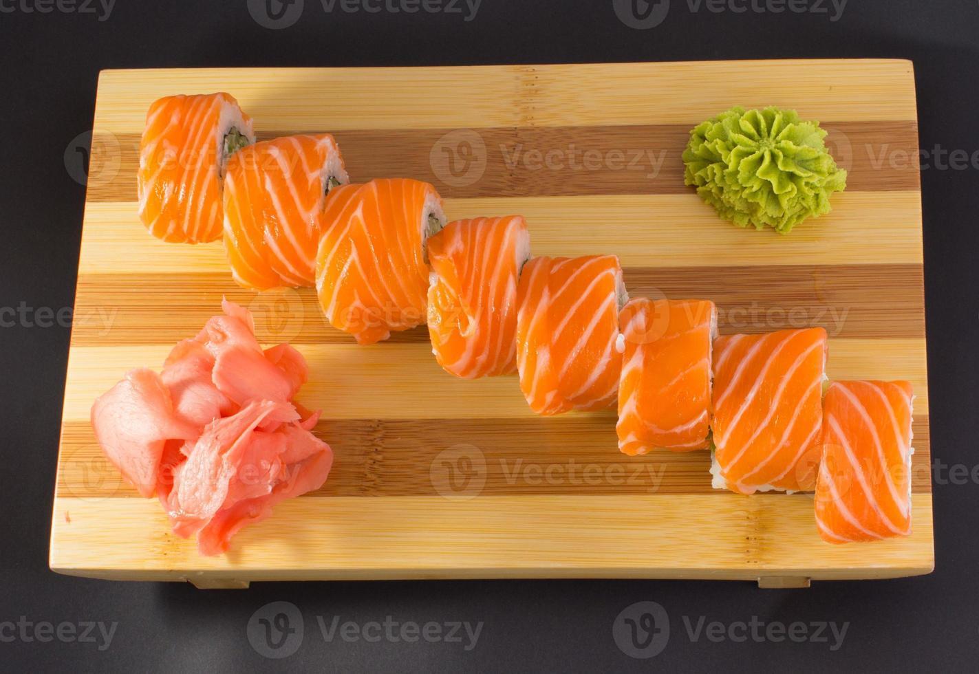 Sushi roll isolated on white background photo