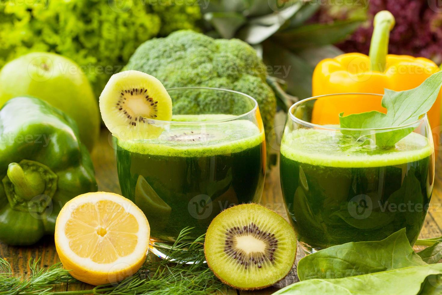 Healthy green smoothies photo