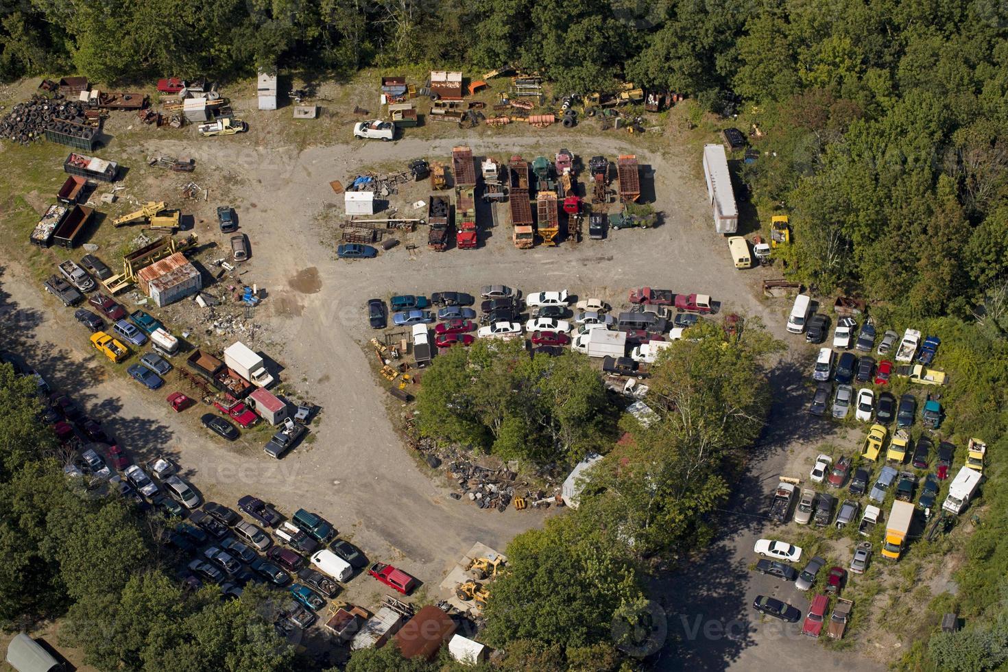 vista aérea del depósito de chatarra foto