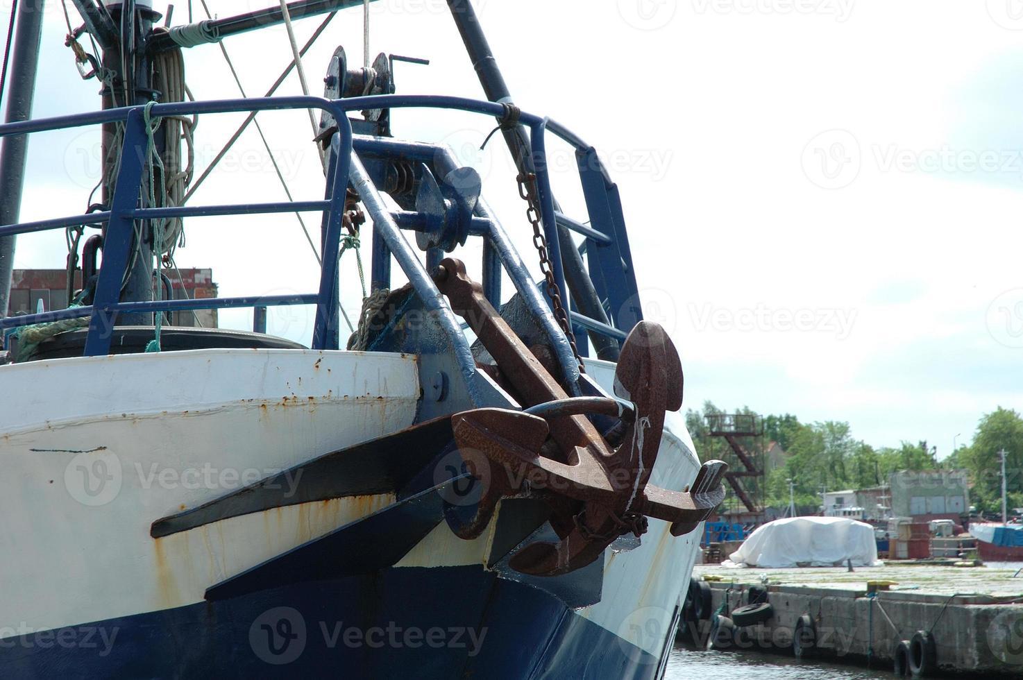 Anchor on ship's bow photo