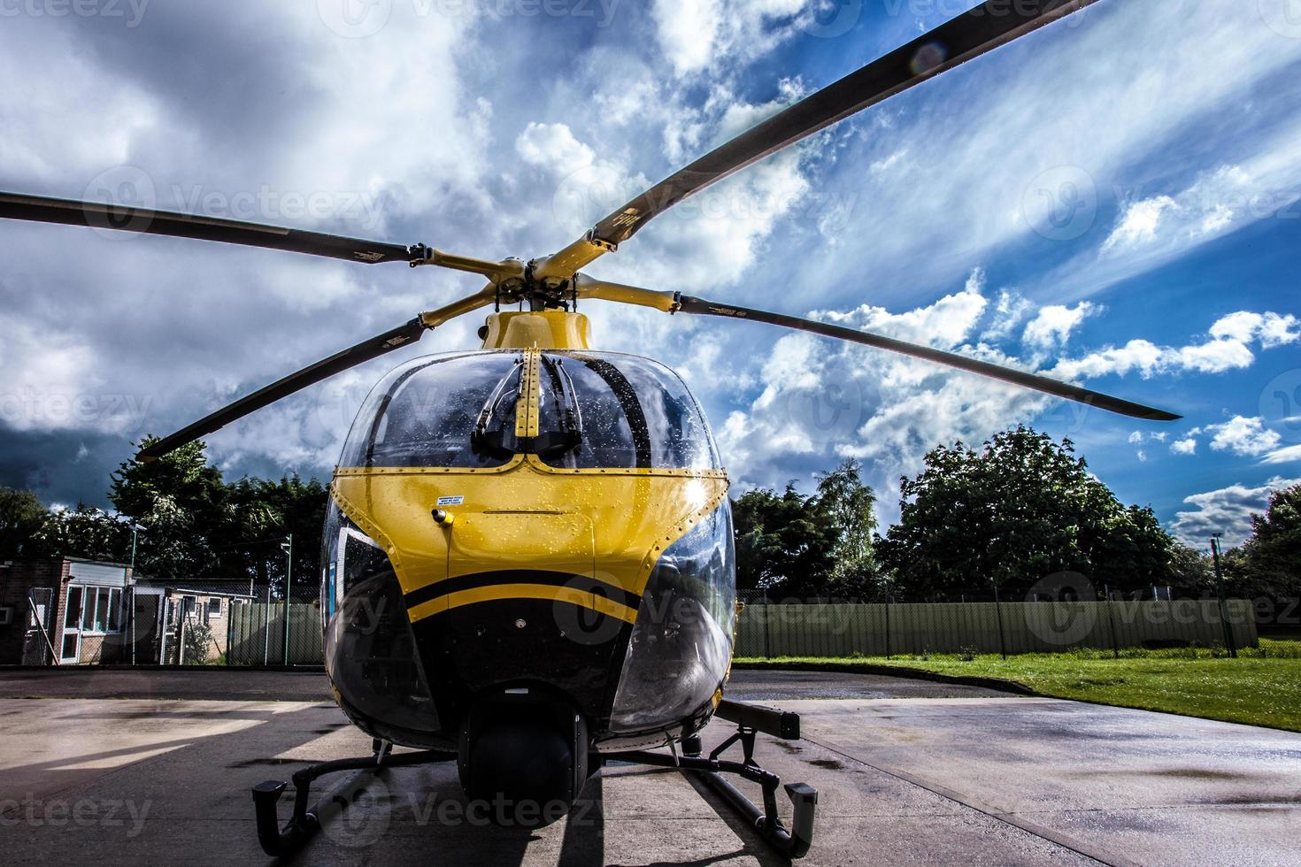 Helicopter on landing pad photo