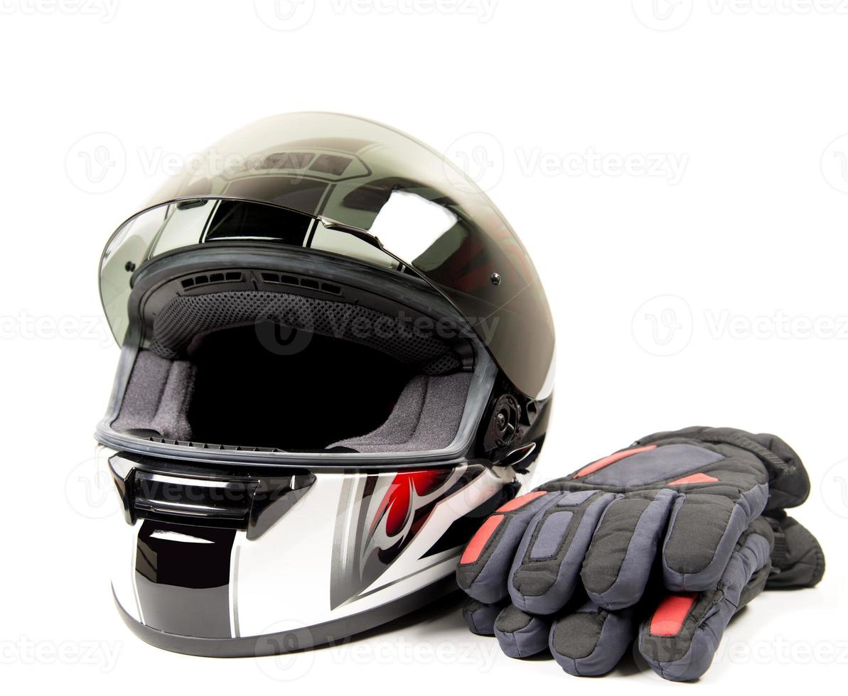 Motorcycle helmet and glove photo