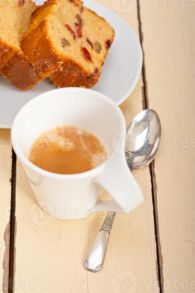 plum cake and espresso coffee photo