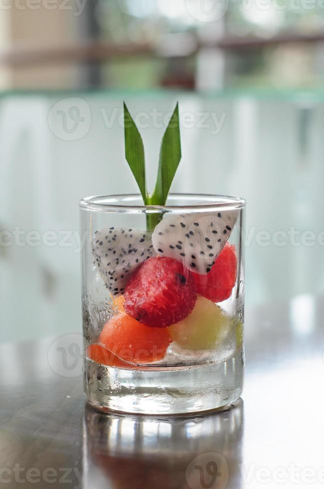 Fruit salad in glass photo