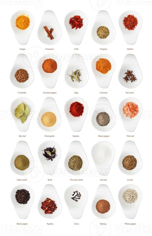 Different spices isolated on white background photo