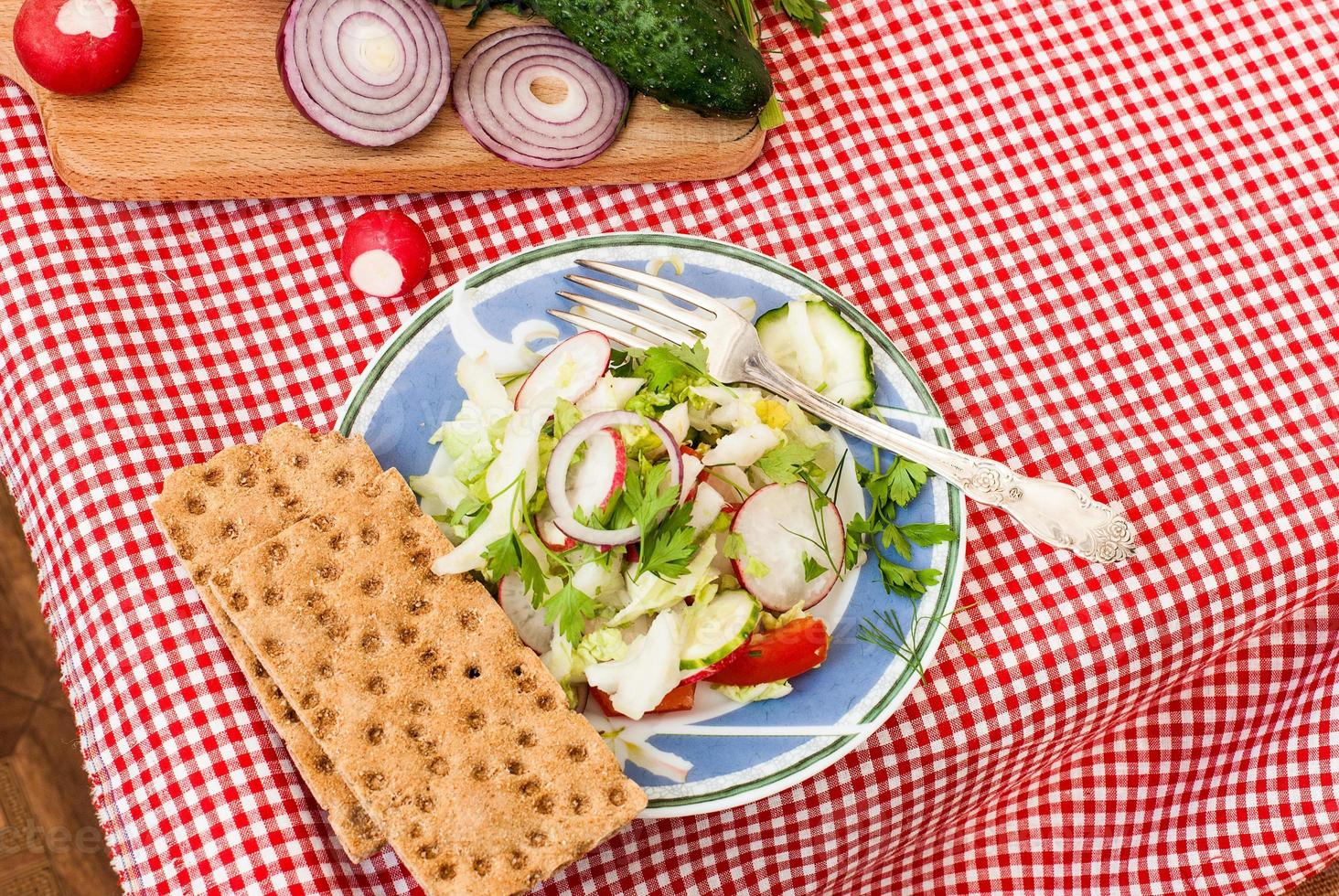 Spring salad with radishes, cucumber, cabbage and onion close-up photo