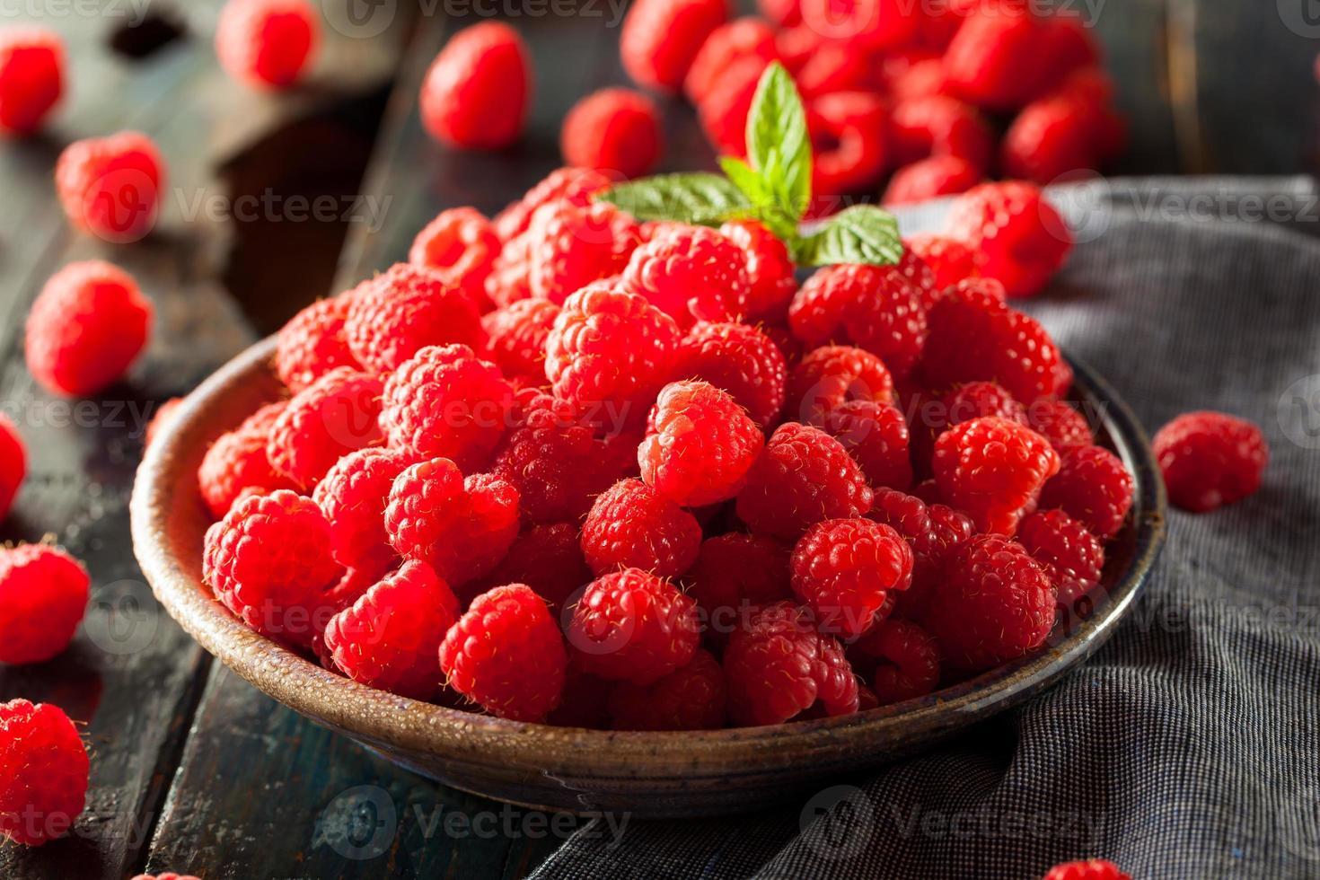 Fresh Organic Raw Raspberries photo