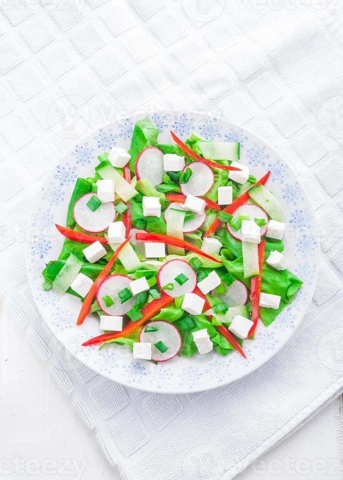 Ensalada con queso feta y rábano. ensalada de vegetales foto