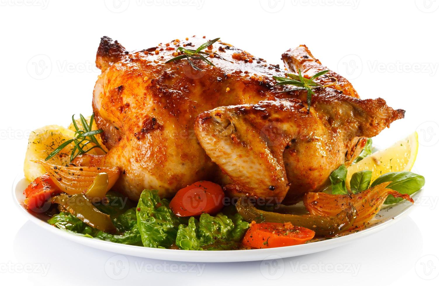 Roasted chicken and vegetables photo