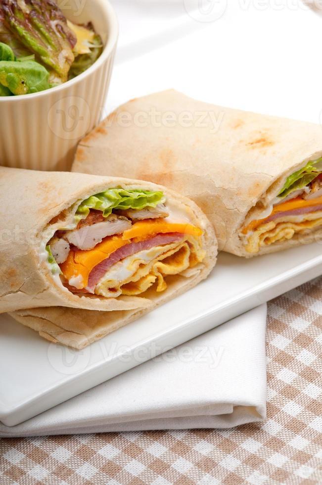 club sandwich pita bread roll photo