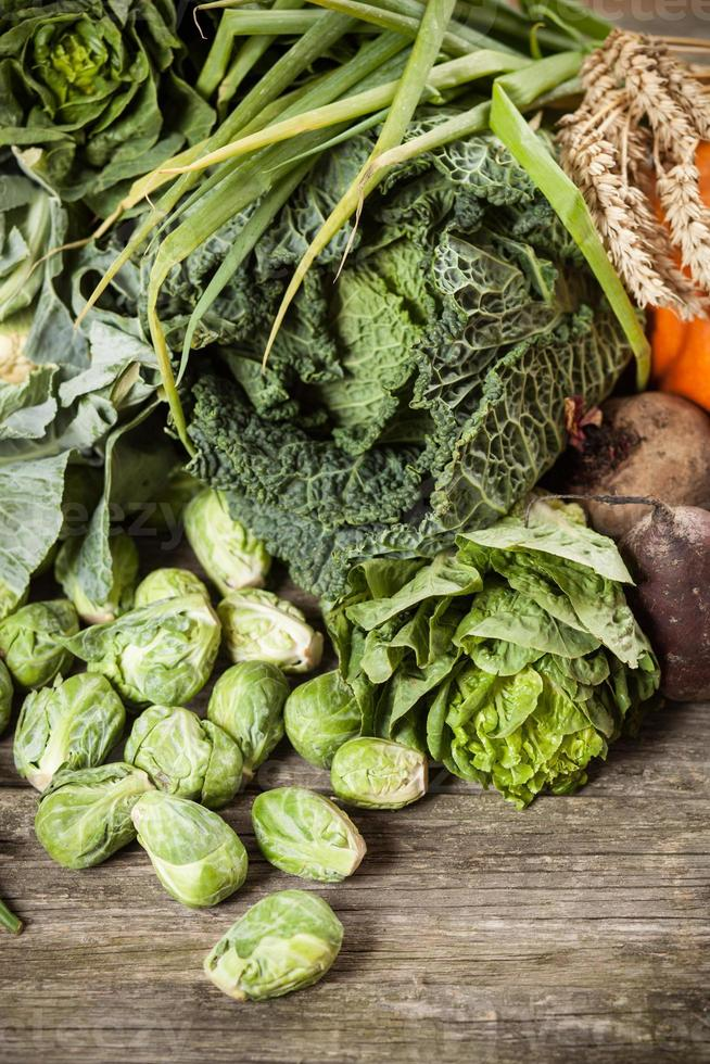 Assortment of green vegetables photo