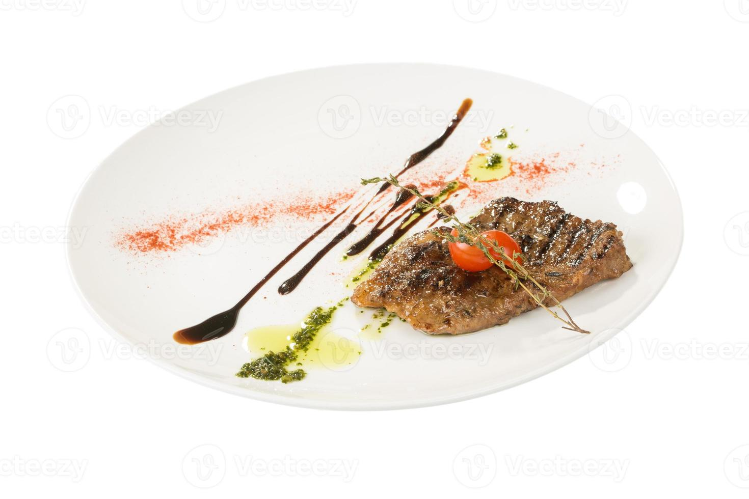 Grilled steaks and vegetables photo