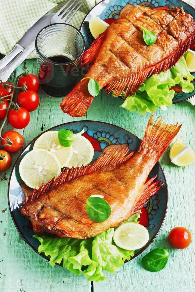 lunch of smoked sea bass photo