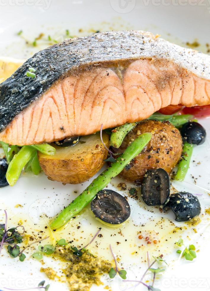 grilled salmon steak pesto photo
