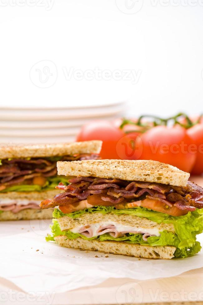 Two sandwich on wrapping paper back ground has tomatoes photo