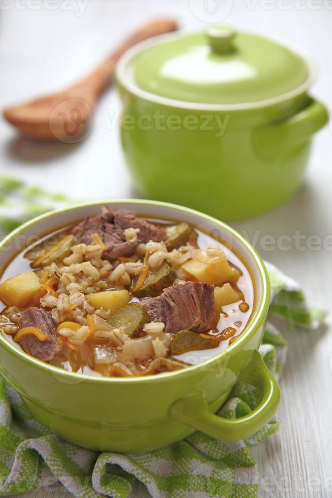 Soup with pickles and barley photo