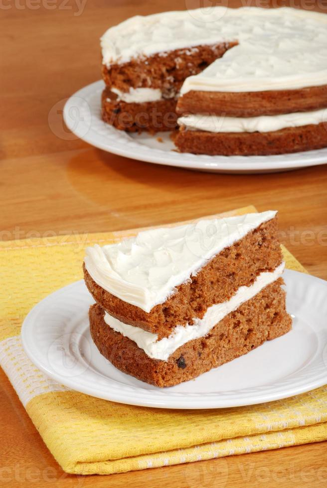 top view slice of carrot cake photo