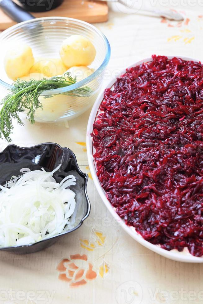 Russian traditional salad 'herring under fur coat photo