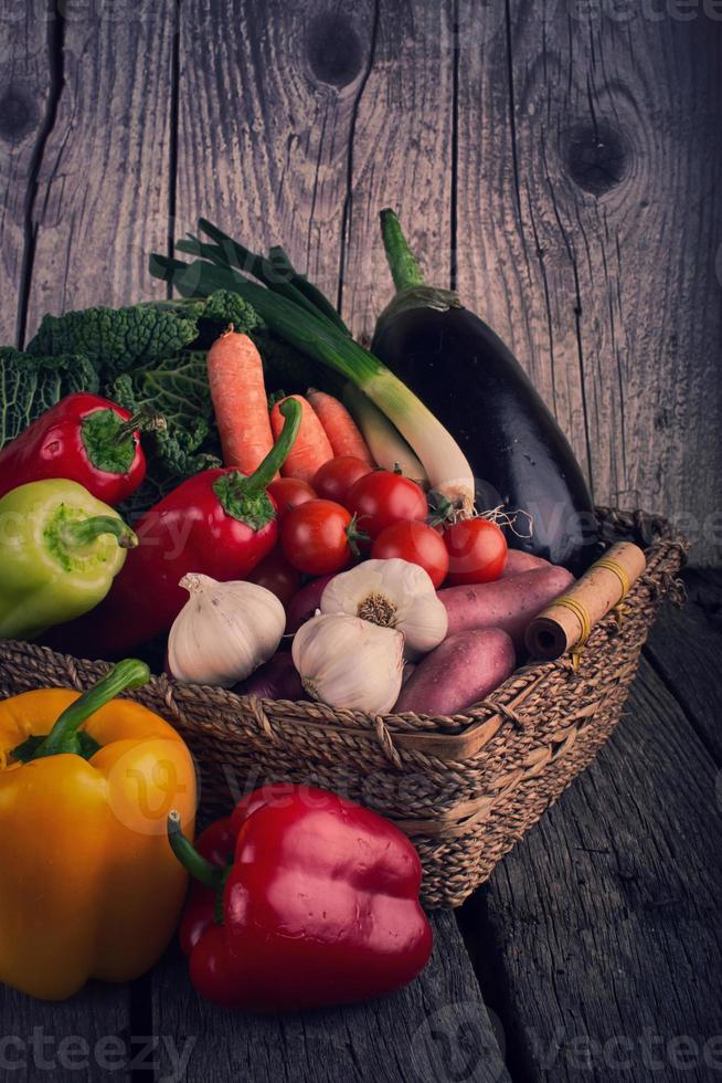 Fresh Organic Vegetable on wooden table photo