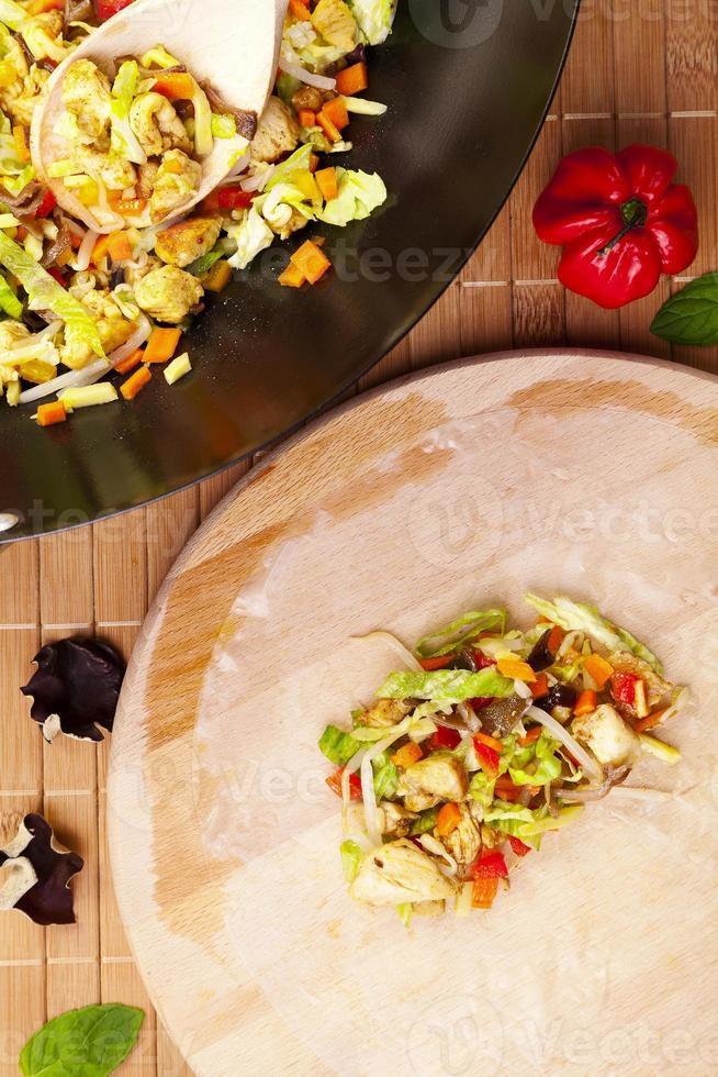 Preparing serve spring rolls to eat photo
