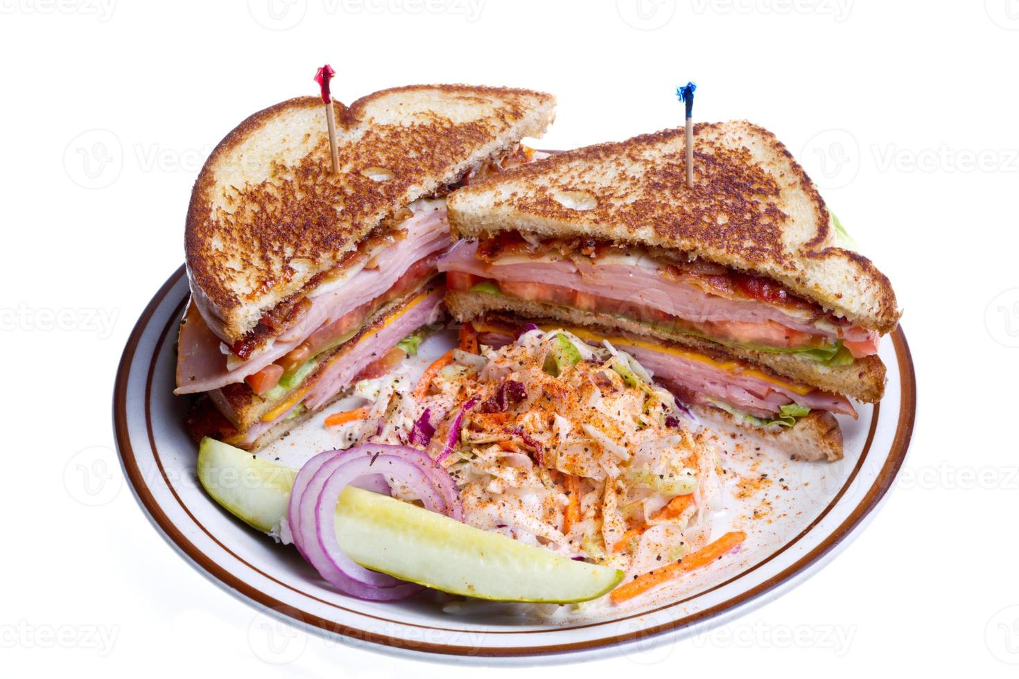 Turkey Club Sandwich Isolated on White photo