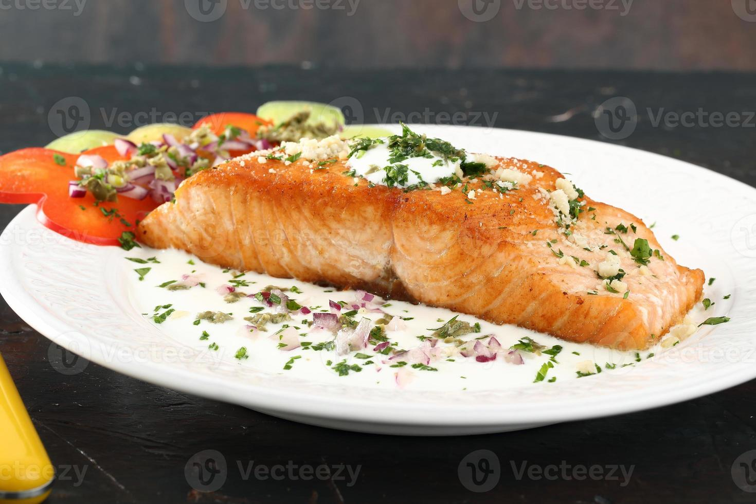 grilled salmon fillet photo