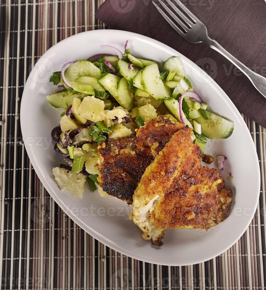 Chicken Schnitzel With Vegetables photo