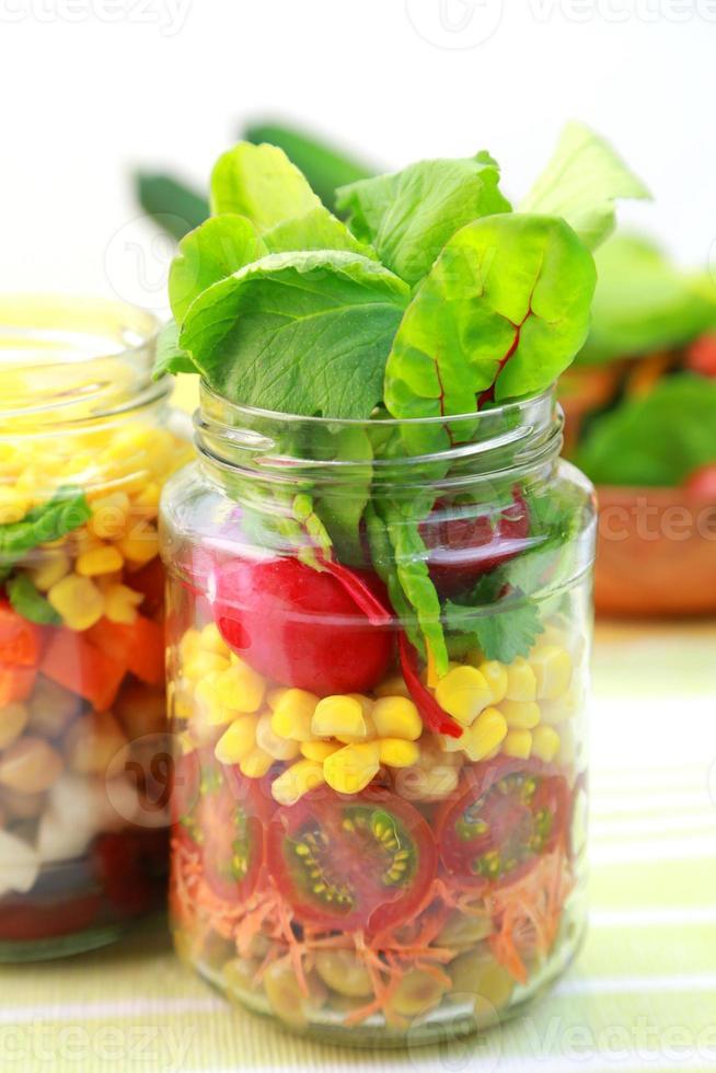 Vegetable salad in the jar photo