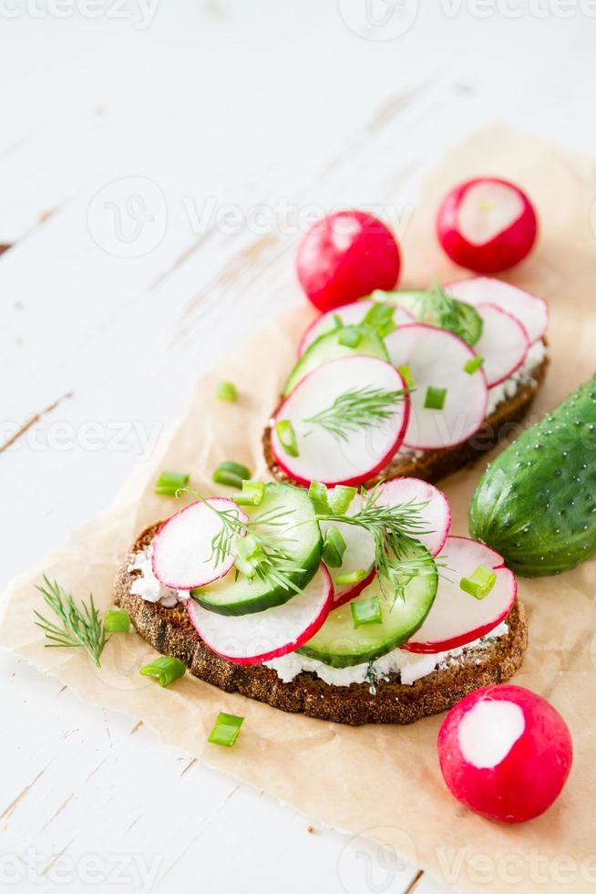 Sandwich with cottage cheese, radish and cucumber, dill photo