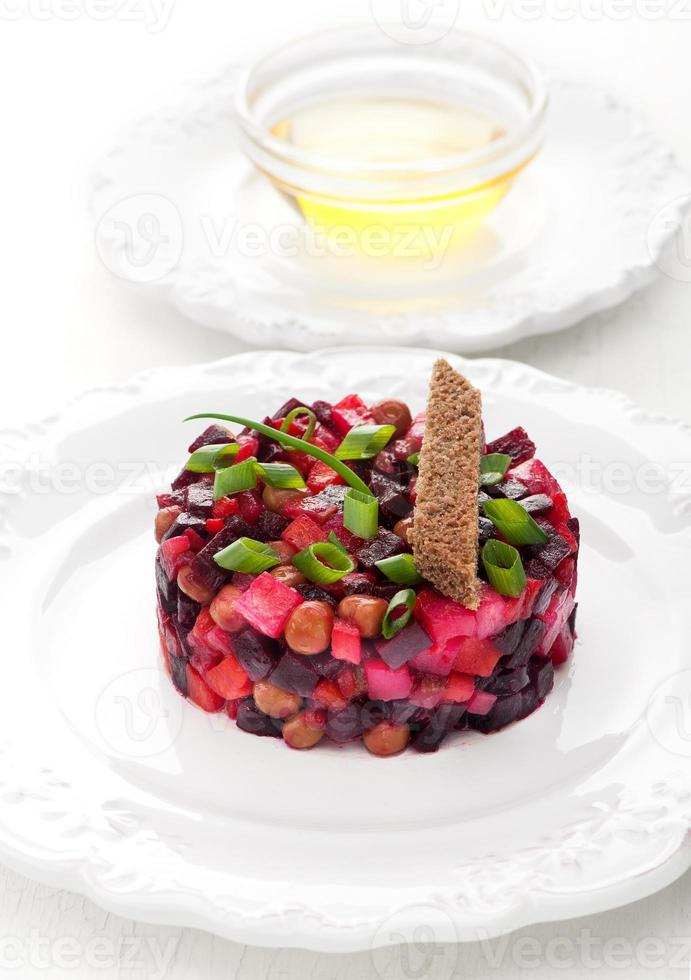 Vinaigrette Traditional Russian vegetable salad with beetroot photo