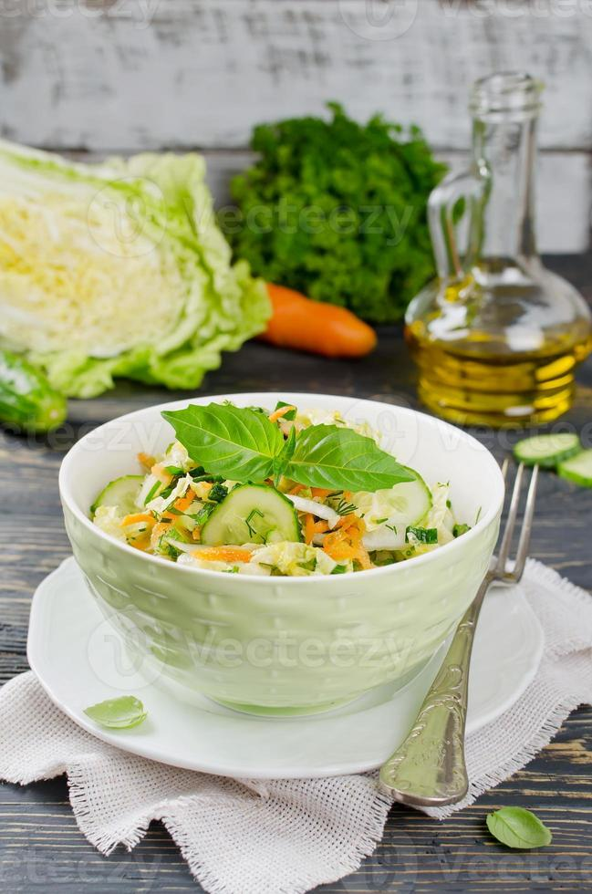 Cabbage salad with cucumber photo