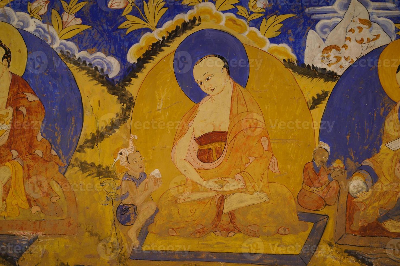 Fresco budista en Thiksey Gompa, Ladakh foto