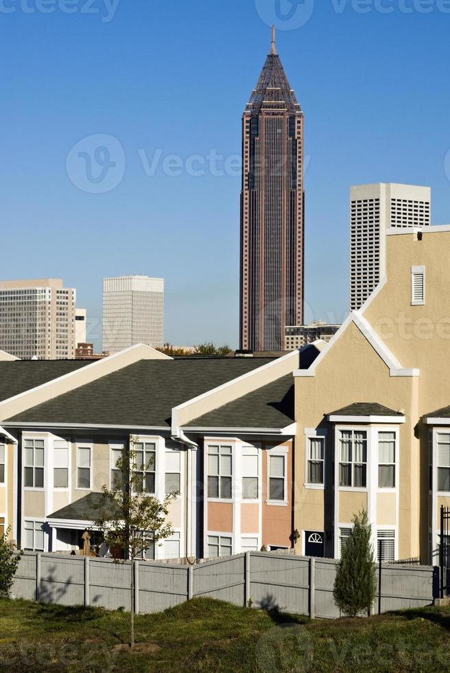 Attached houses with Atlanta Georgia city skyline in the background photo