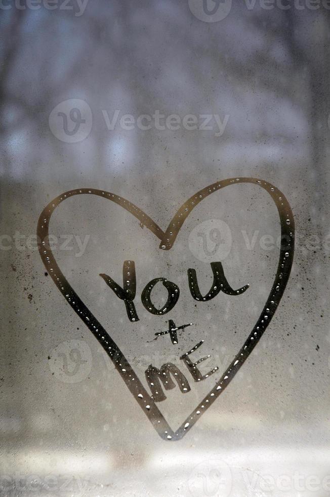 você e eu mensagem de coração na janela foto