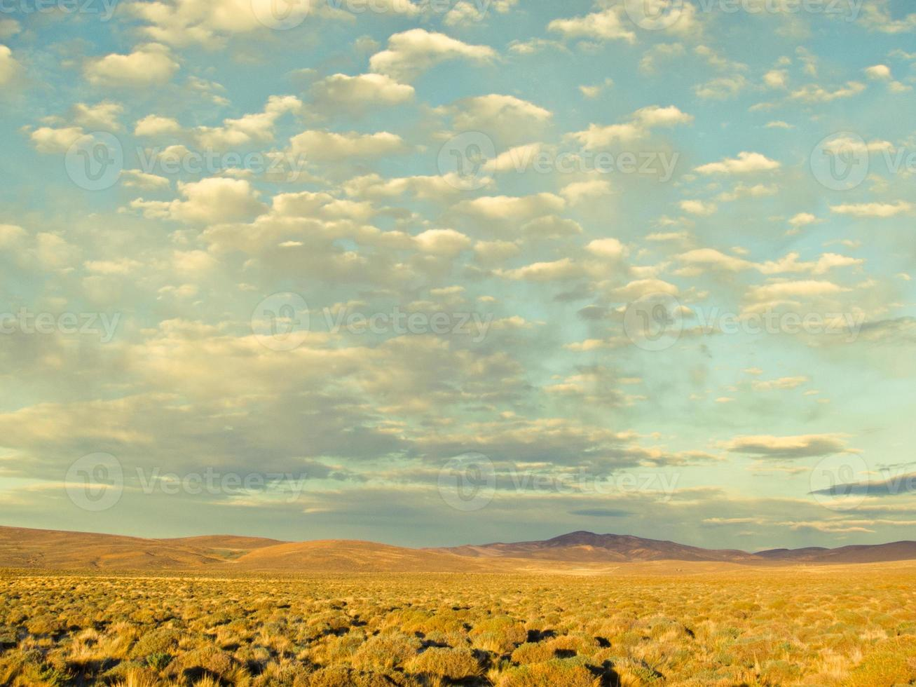 rural landscape with cloudscape at sunrise in argentina, south america photo