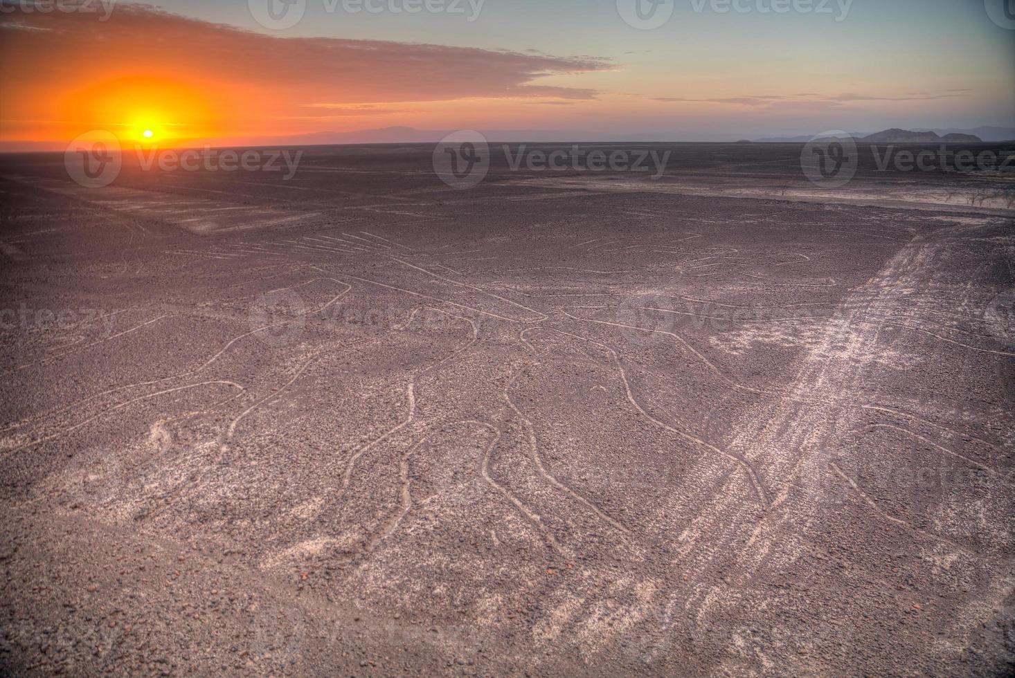 Nazca Lines in the beautiful sunset. photo