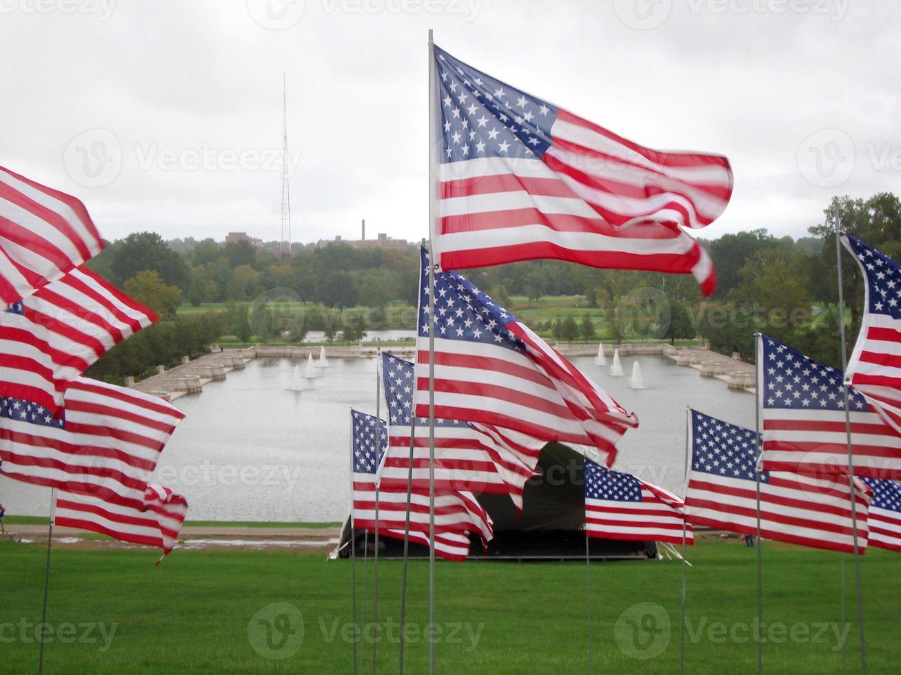 banderas americanas en st. louis, missouri recordando el 11 de septiembre foto
